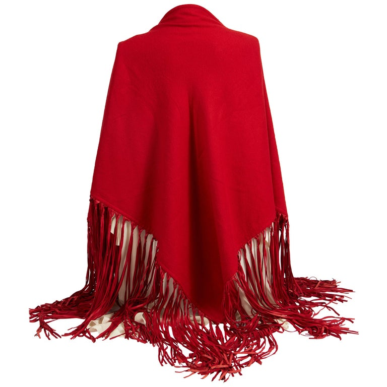 1990's Hermes Cashmere Wool Red Fringe Shawl  For Sale