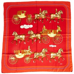 1990's Hermes Coach & Saddle Red Silk Scarf