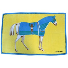 1990's HERMES equestrian printed cotton terry cloth beach towel