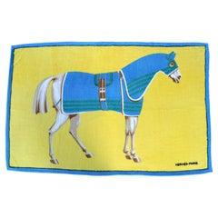 1990's HERMES equestrian printed cotton terry cloth beach towel