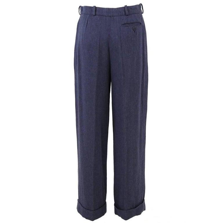 Black 1990s Hermès Linen Pants For Sale