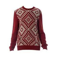 1990S Hermes Maroon & Silver Cashmere Sweater