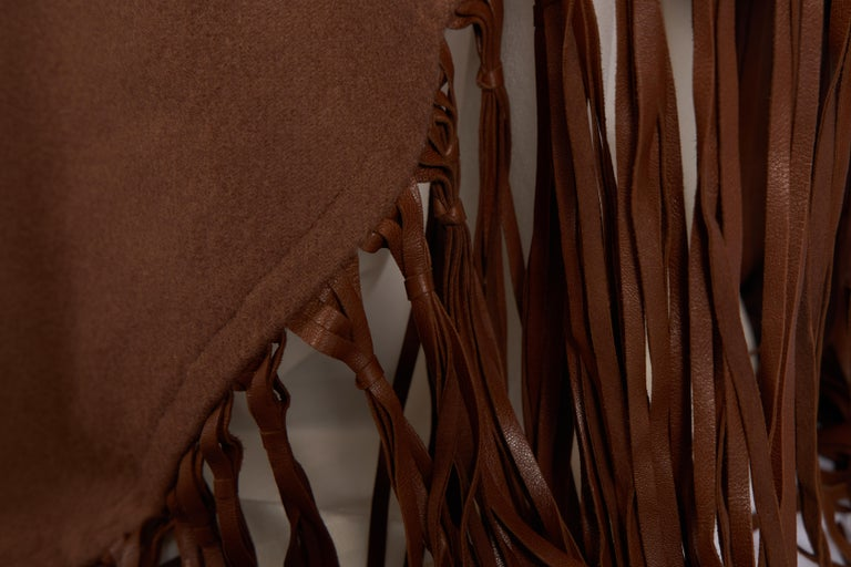 Women's 1990's Hermes Rare Brown Cashmere Leather Shawl For Sale