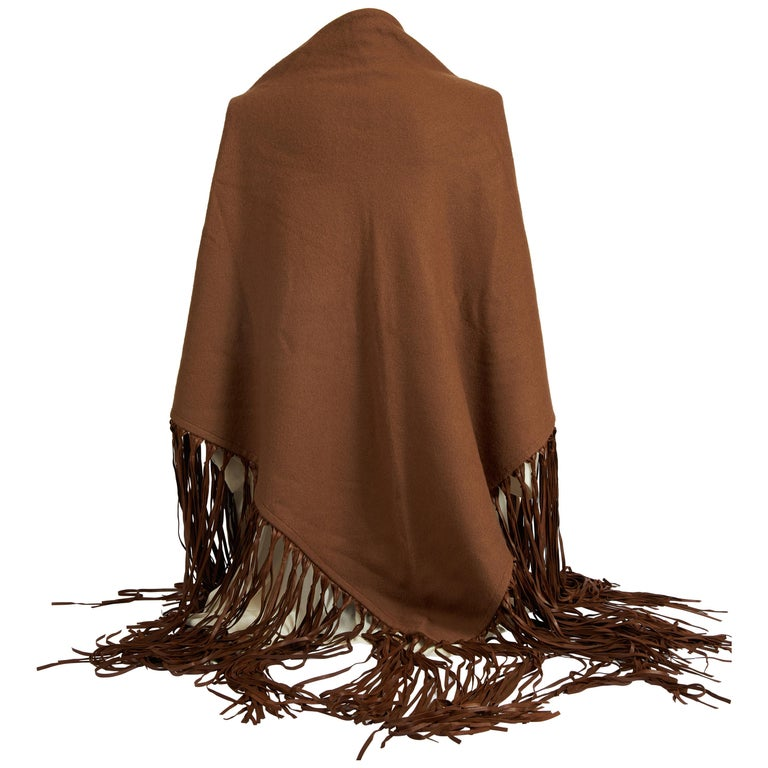 1990's Hermes Rare Brown Cashmere Leather Shawl For Sale