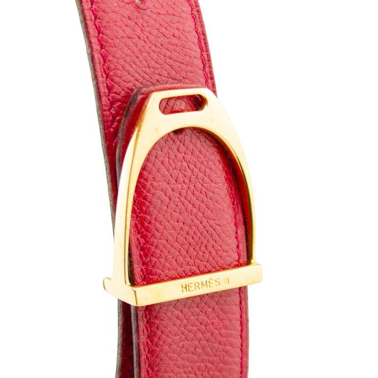 Orange 1990's Hermes Red Leather Stirrup Buckle Belt  For Sale
