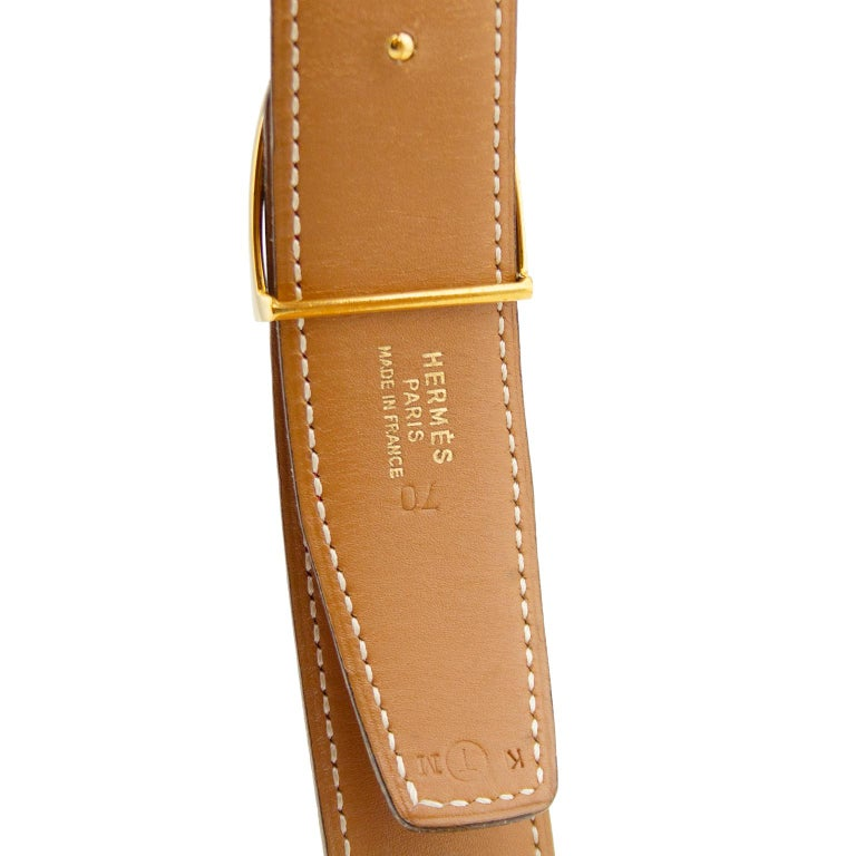 1990's Hermes Red Leather Stirrup Buckle Belt  In Good Condition For Sale In Toronto, Ontario