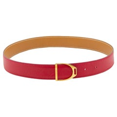 1990's Hermes Red Leather Stirrup Buckle Belt