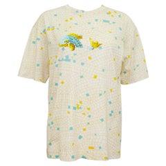 1990s Hermes Silk Cotton Bland Mosaic Tile Fish T-Shirt