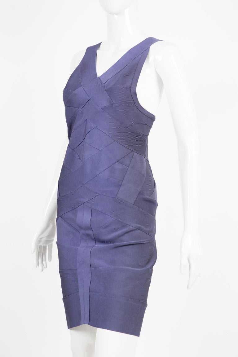 1990s Herve Leger Purple Bandage Dress In New Condition For Sale In Paris, FR