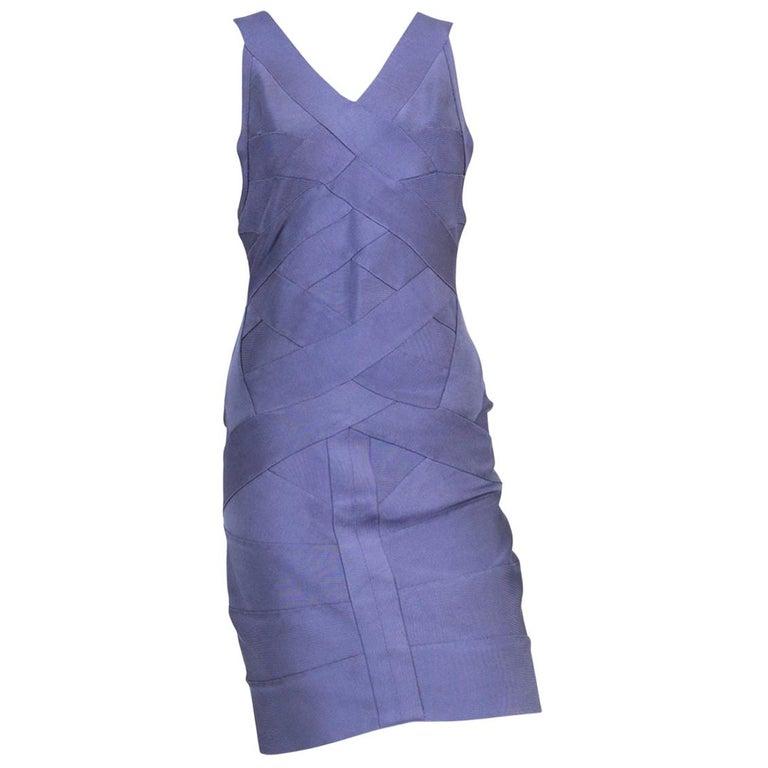 1990s Herve Leger Purple Bandage Dress For Sale