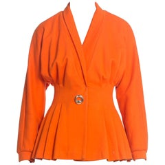 1990S Orange Cotton Jersey Knit Blazer