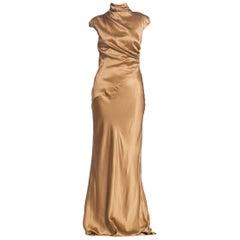 1990S Hugo Boss Gold Bias Cut Silk Satin Gown