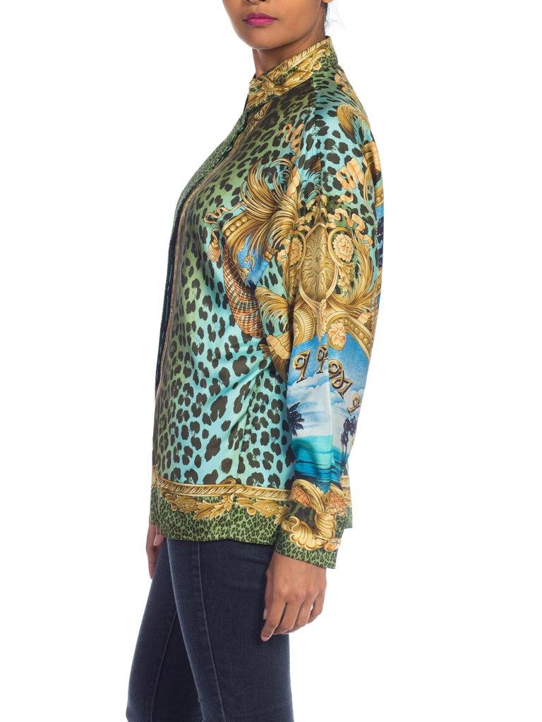 1990S GIANNI VERSACE Printed Silk Iconic Leopard Miami  Shirt Sz 40 6