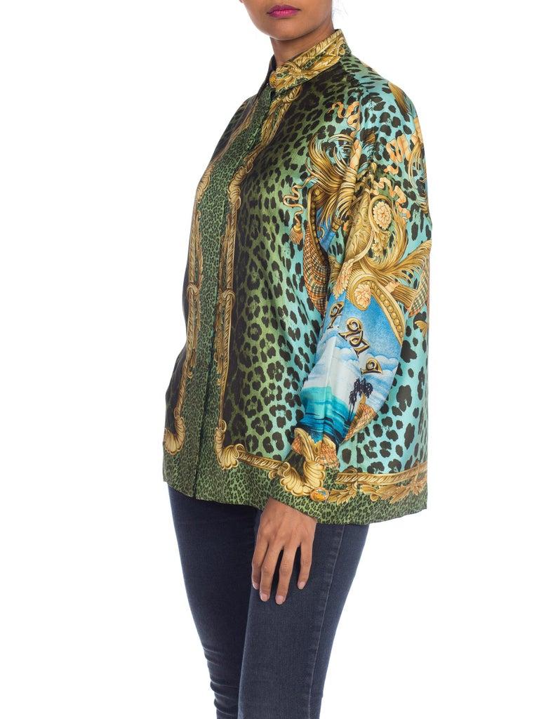 1990S GIANNI VERSACE Printed Silk Iconic Leopard Miami  Shirt Sz 40 7