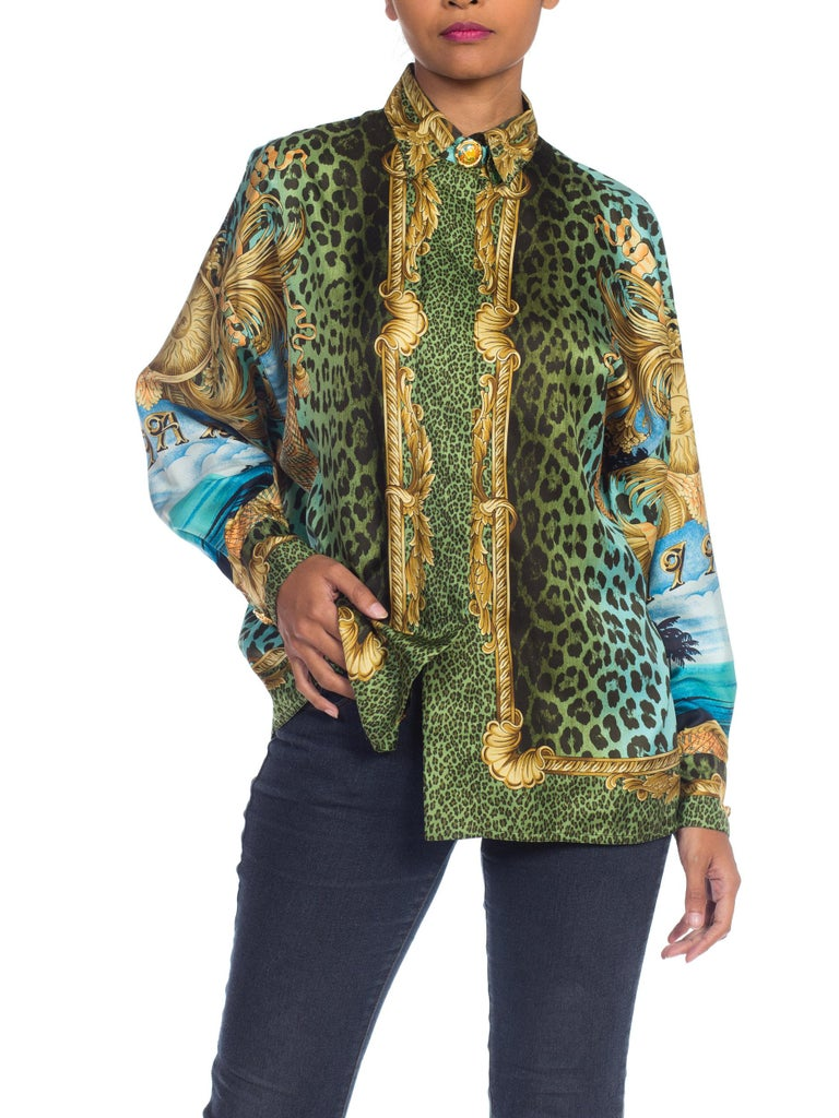 1990S GIANNI VERSACE Printed Silk Iconic Leopard Miami  Shirt Sz 40 8