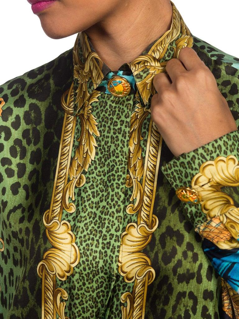 1990S GIANNI VERSACE Printed Silk Iconic Leopard Miami  Shirt Sz 40 9
