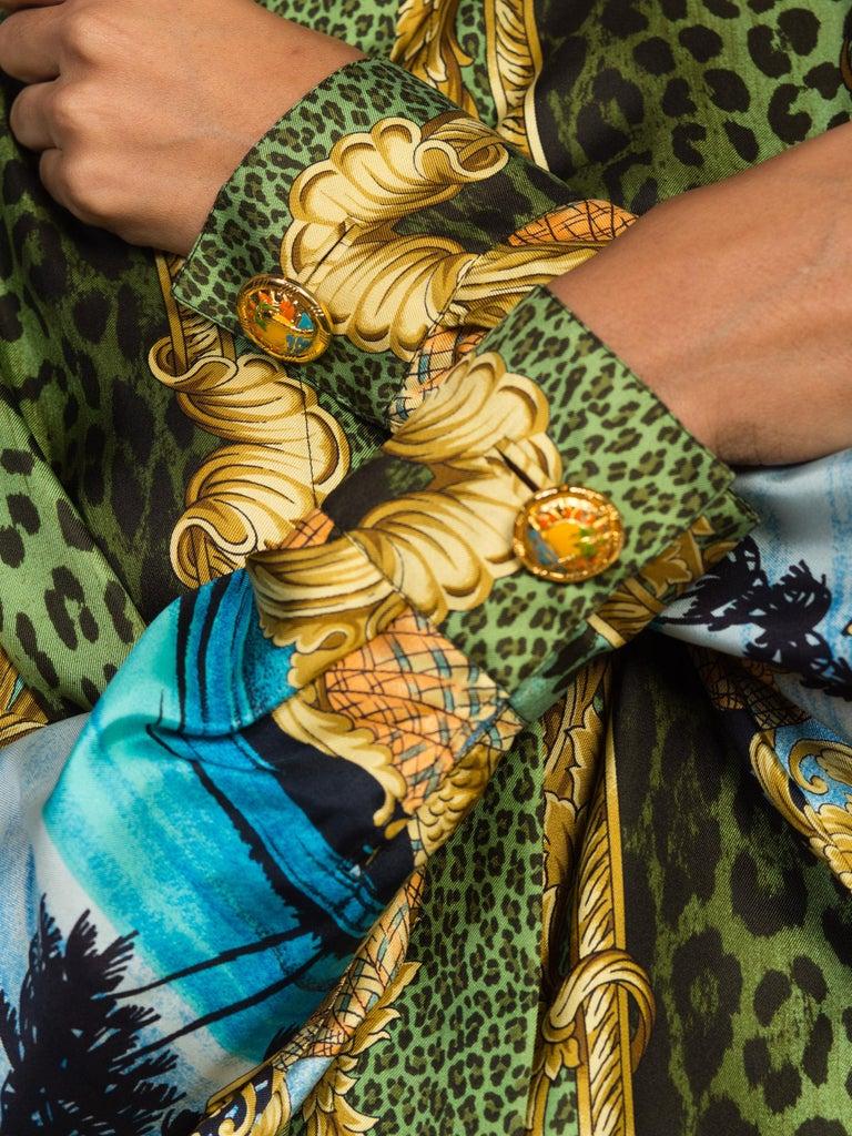 1990S GIANNI VERSACE Printed Silk Iconic Leopard Miami  Shirt Sz 40 10