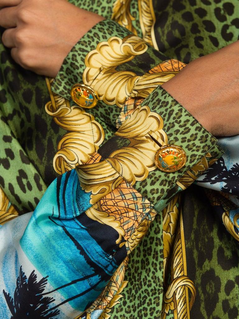 1990S GIANNI VERSACE Printed Silk Iconic Leopard Miami  Shirt Sz 40 11