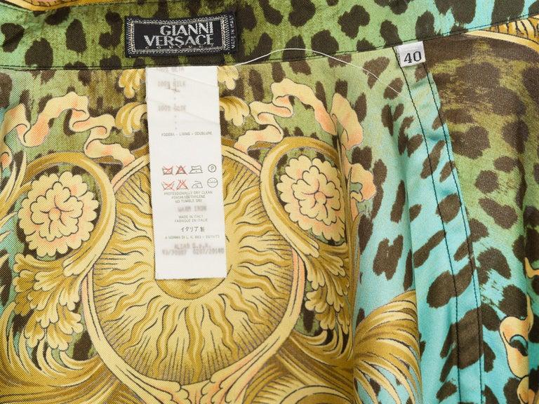 1990S GIANNI VERSACE Printed Silk Iconic Leopard Miami  Shirt Sz 40 12