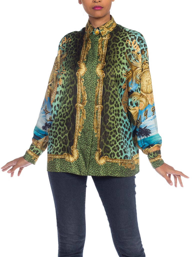 Women's 1990S GIANNI VERSACE Printed Silk Iconic Leopard Miami  Shirt Sz 40