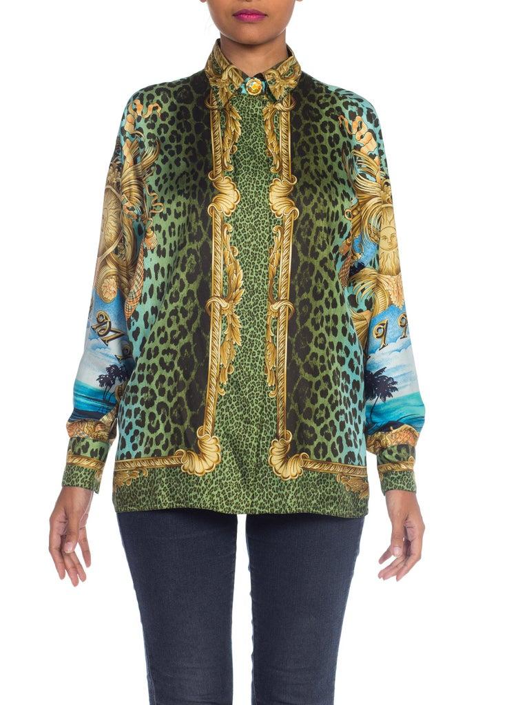 1990S GIANNI VERSACE Printed Silk Iconic Leopard Miami  Shirt Sz 40 2