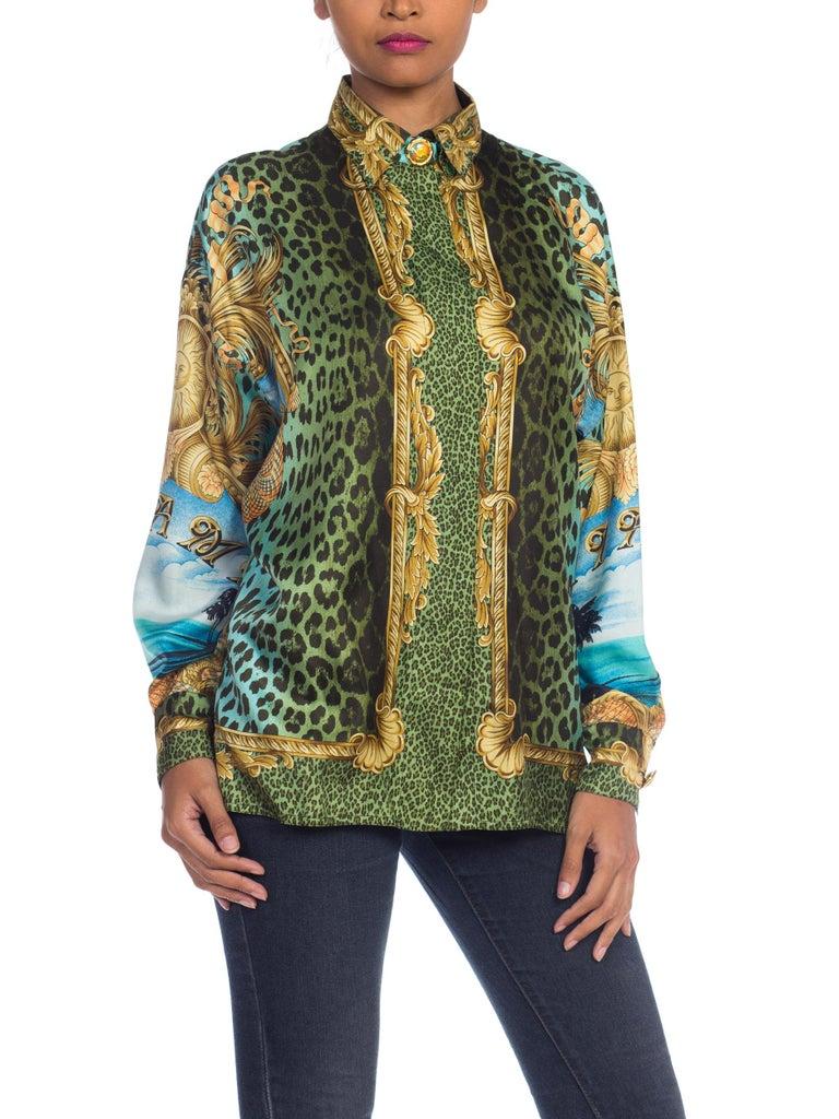 1990S GIANNI VERSACE Printed Silk Iconic Leopard Miami  Shirt Sz 40 3