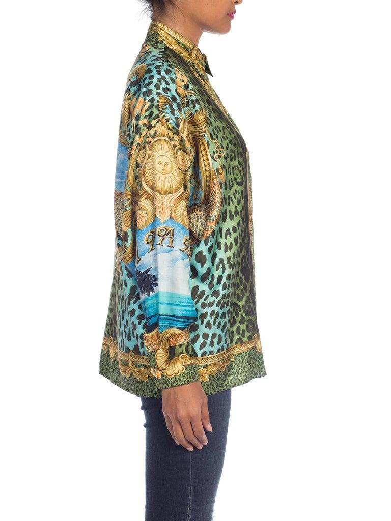 1990S GIANNI VERSACE Printed Silk Iconic Leopard Miami  Shirt Sz 40 4