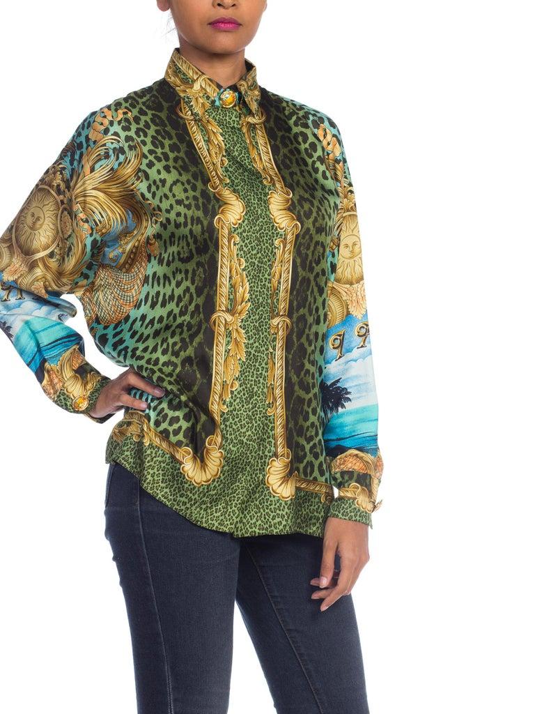 1990S GIANNI VERSACE Printed Silk Iconic Leopard Miami  Shirt Sz 40 5