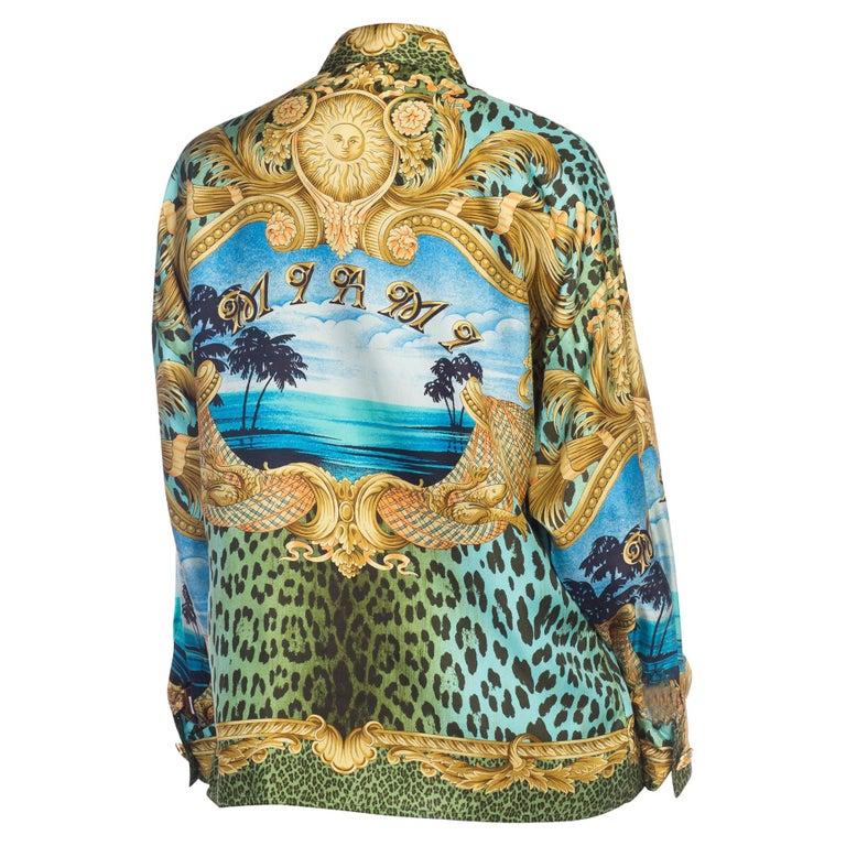 1990S GIANNI VERSACE Printed Silk Iconic Leopard Miami  Shirt Sz 40