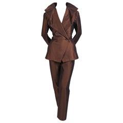 1990's ISSEY MIYAKE luminescent burgundy draped collar suit