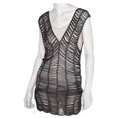 1990S ISSEY MIYAKE Metallic Gunmetal Grey Knit Mini Dress Swim Cover-Up