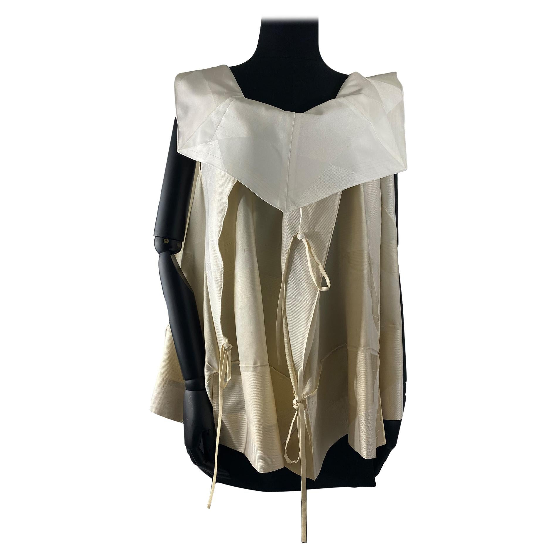 1990's Issey Miyake Oatmeal, Cream And Off-White Silk Mixture Top