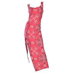 1990s Issey Miyake Pink Printed Dress