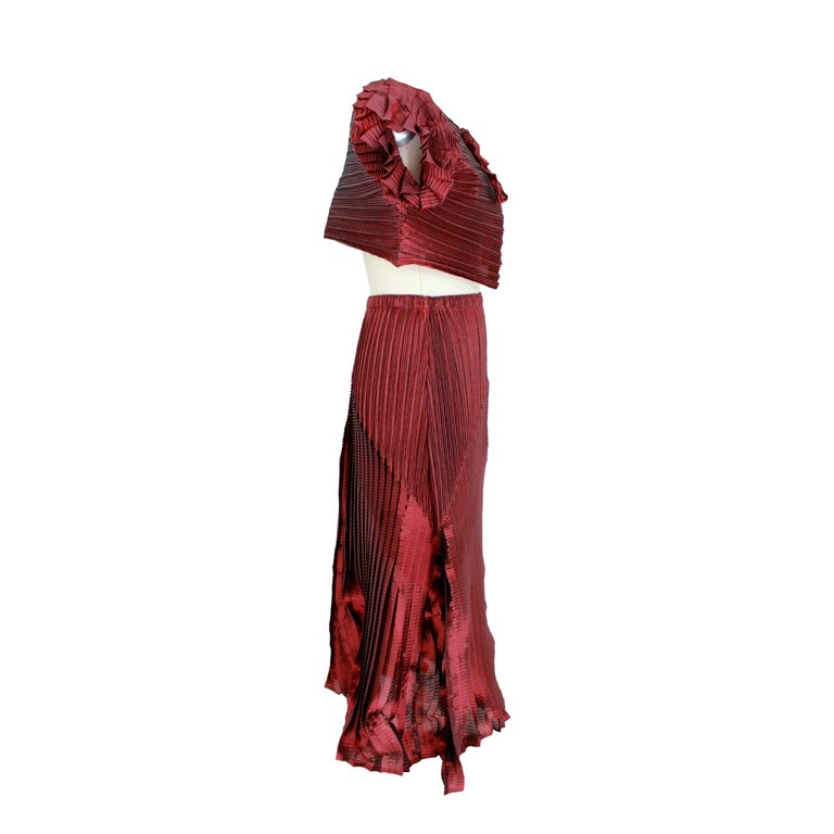 Brown 1990s Issey Miyake Red Purple Pleated Set Dress Maxi Skirt Suit For Sale