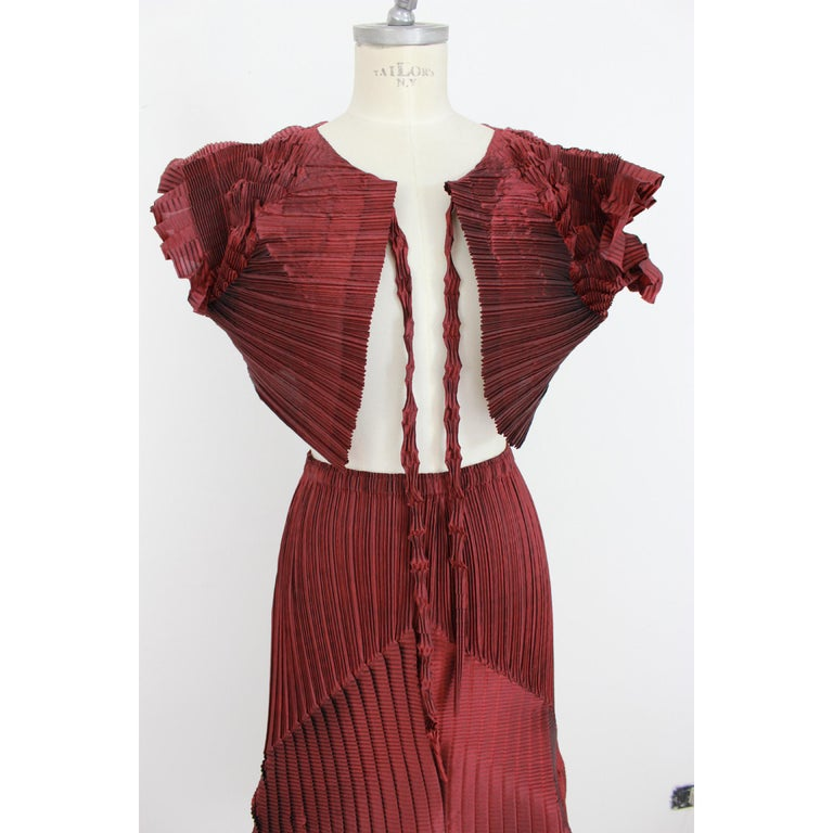1990s Issey Miyake Red Purple Pleated Set Dress Maxi Skirt Suit For Sale 2