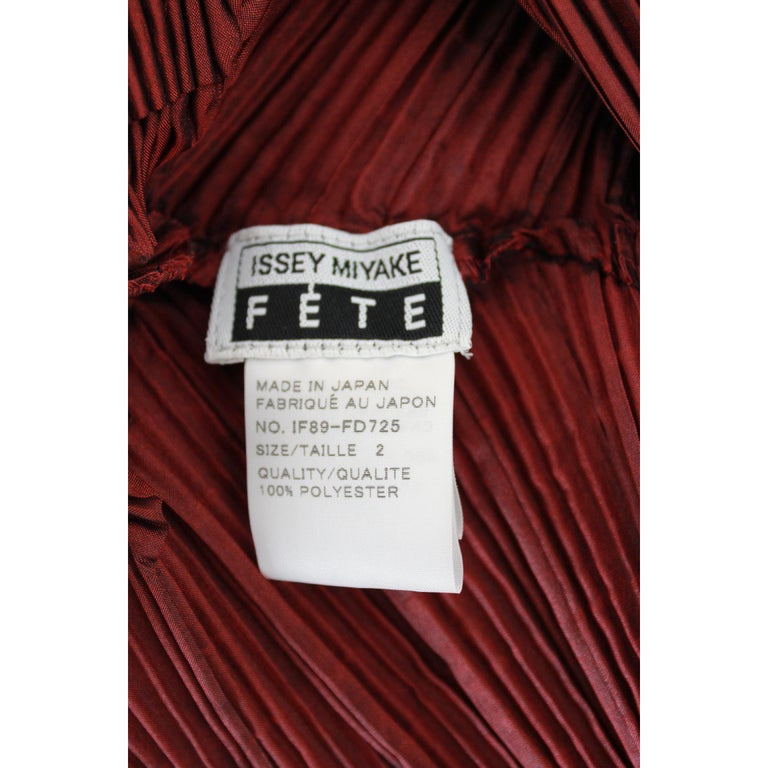 1990s Issey Miyake Red Purple Pleated Set Dress Maxi Skirt Suit For Sale 3