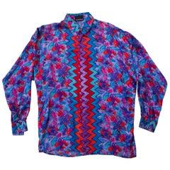 1990S ISTANTE GIANNI VERSACE Purple & Blue Silk Twill Men's Tropical Zig-Zag Pr