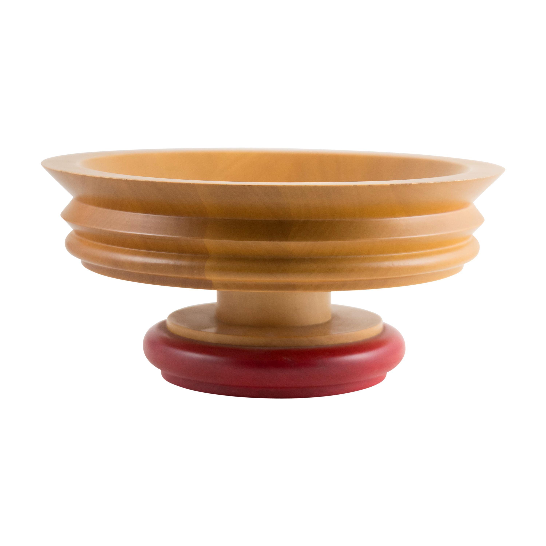 1990s Italian Design Red Rim Wooden Bowl by Ettore Sottsass for Twergi
