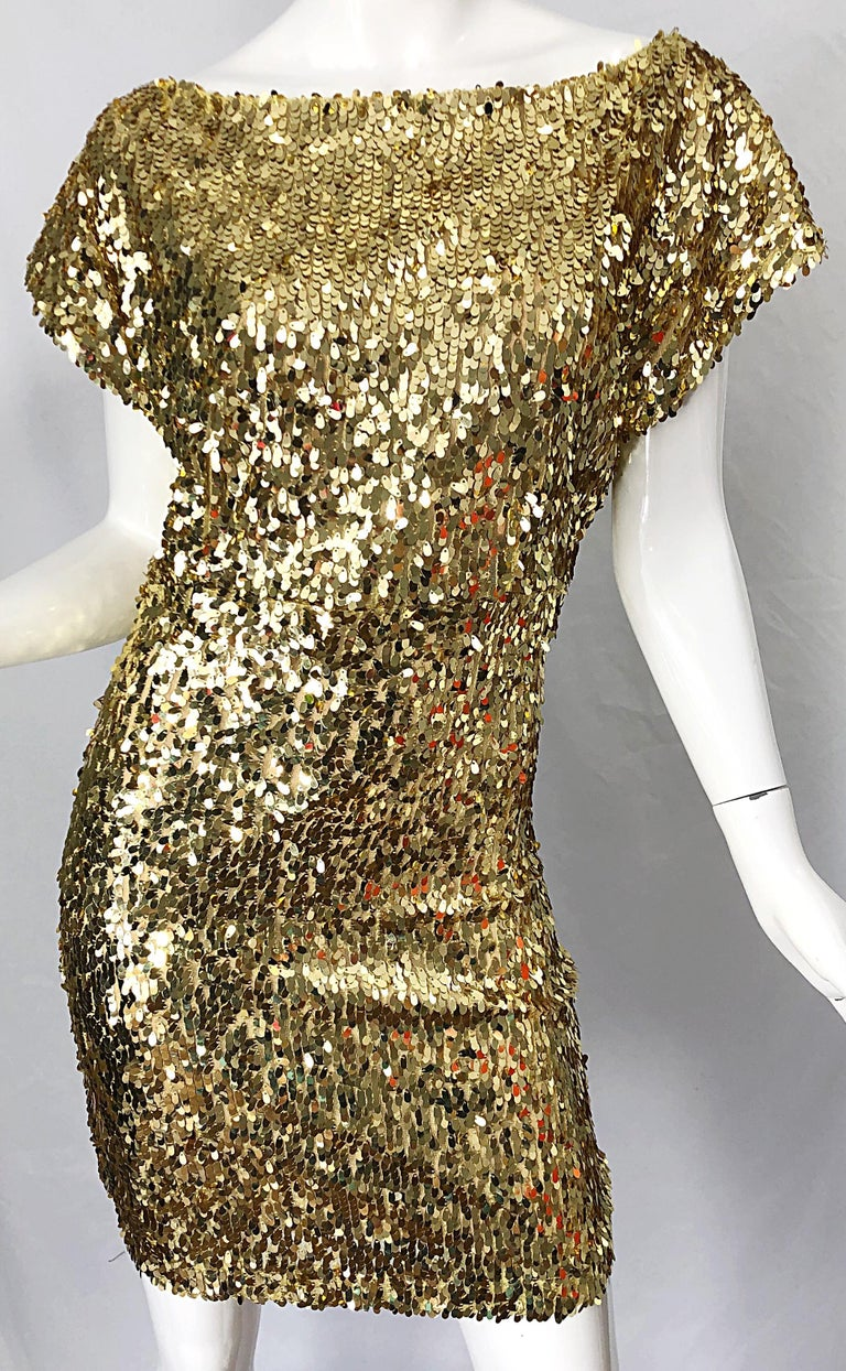 1990s Italian Gold Sequined Off the Shoulder Sexy Vintage 90s Dress For Sale 5