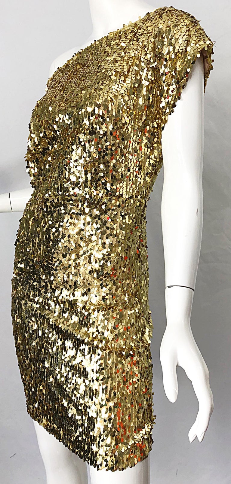 1990s Italian Gold Sequined Off the Shoulder Sexy Vintage 90s Dress For Sale 6