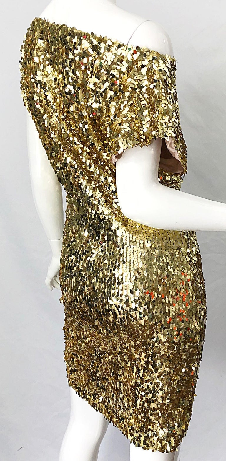 1990s Italian Gold Sequined Off the Shoulder Sexy Vintage 90s Dress For Sale 7