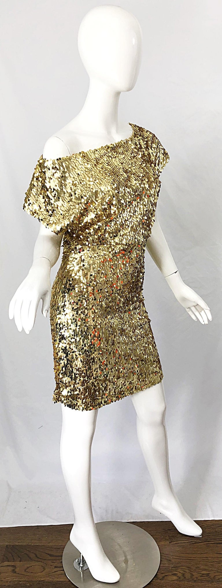1990s Italian Gold Sequined Off the Shoulder Sexy Vintage 90s Dress For Sale 8