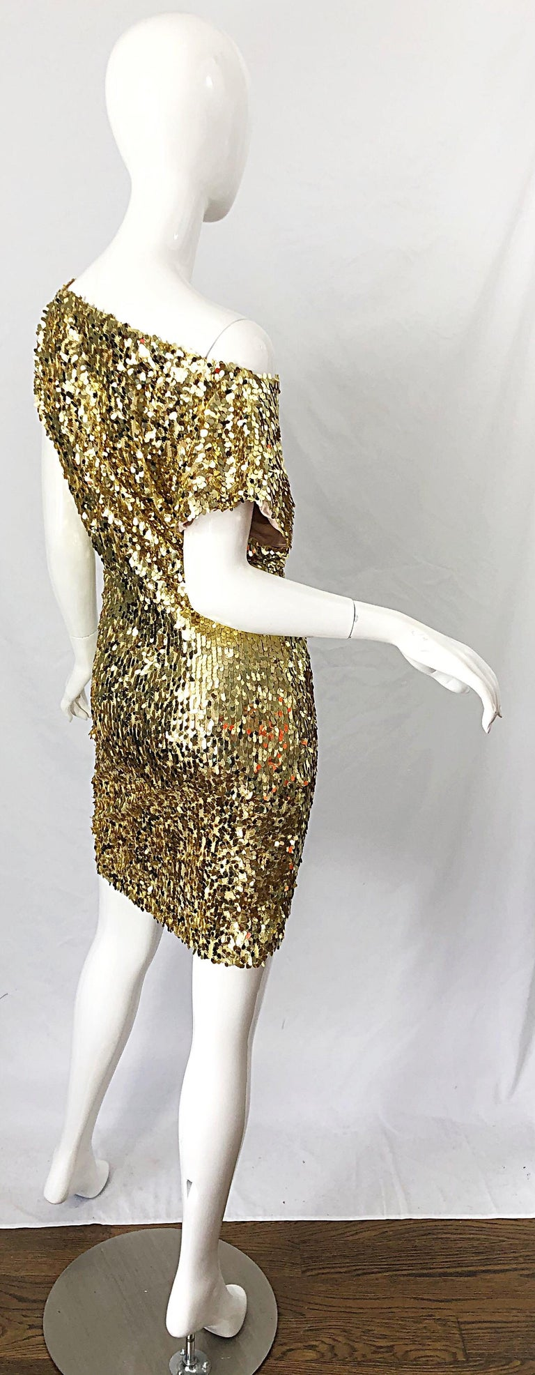Brown 1990s Italian Gold Sequined Off the Shoulder Sexy Vintage 90s Dress For Sale