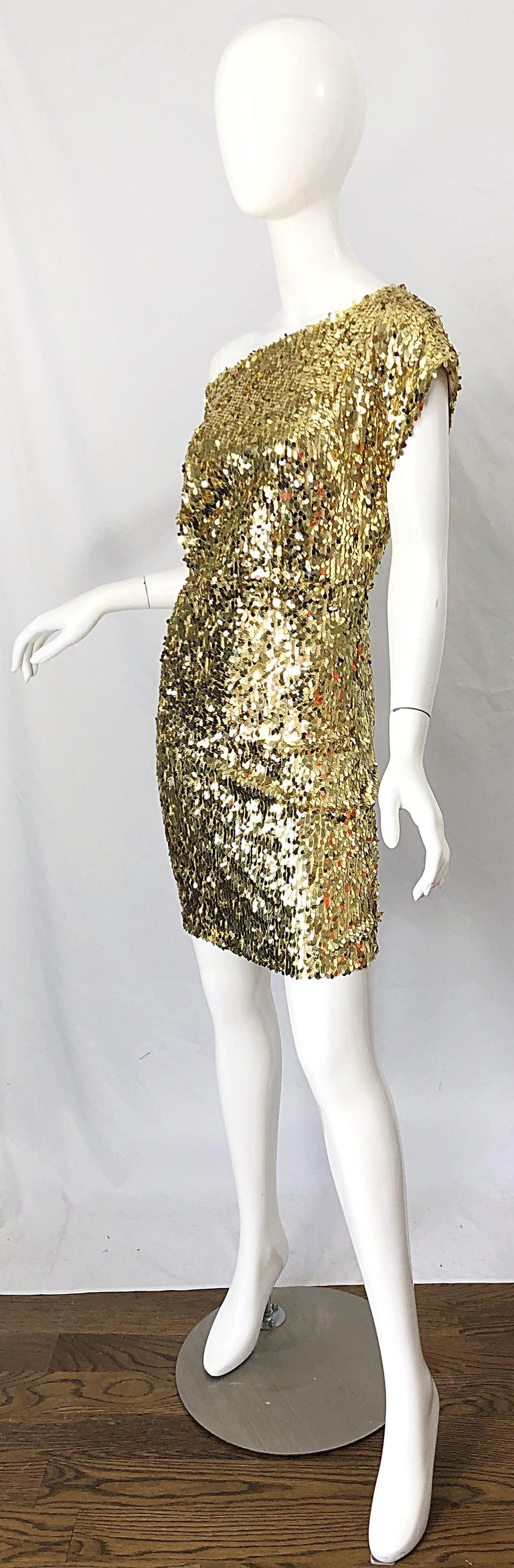 Women's 1990s Italian Gold Sequined Off the Shoulder Sexy Vintage 90s Dress For Sale