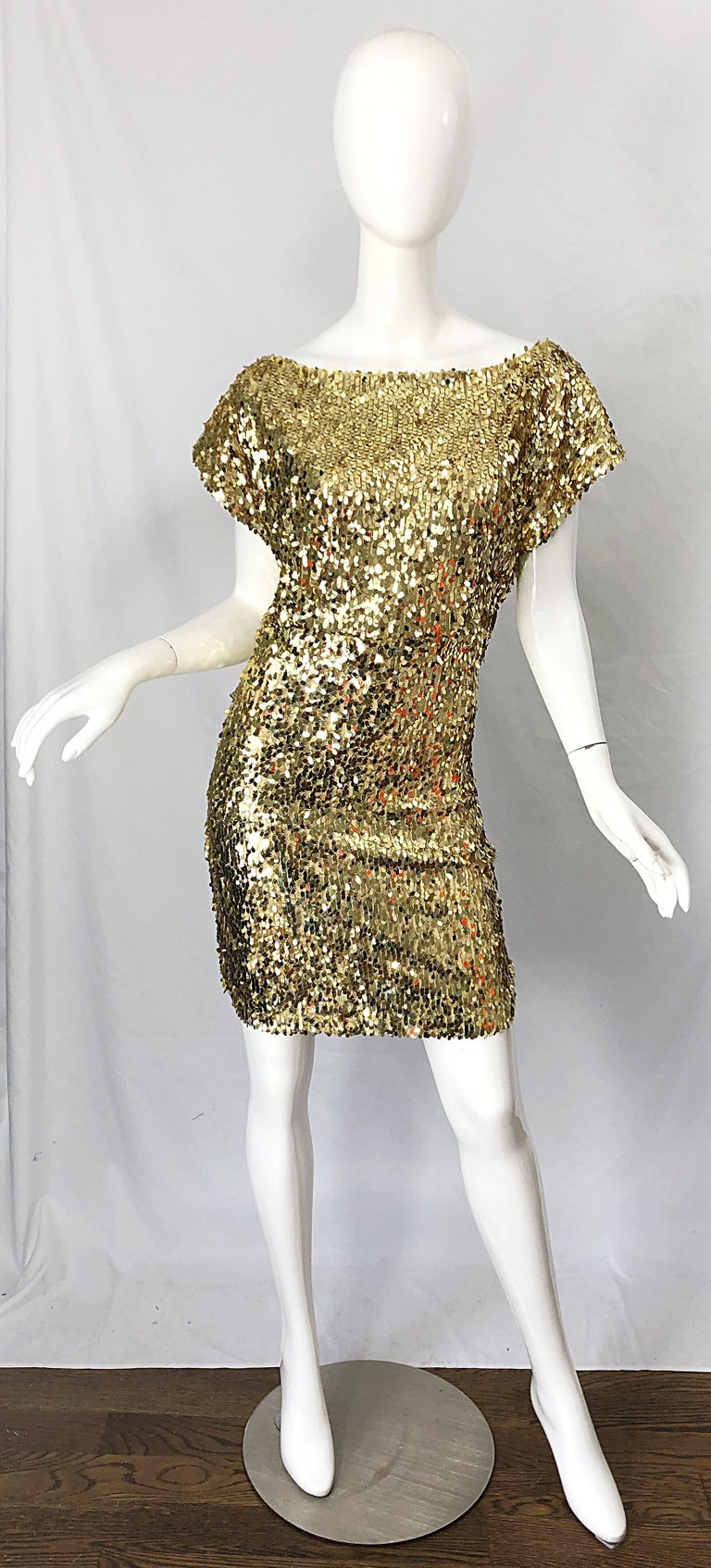 1990s Italian Gold Sequined Off the Shoulder Sexy Vintage 90s Dress For Sale 1