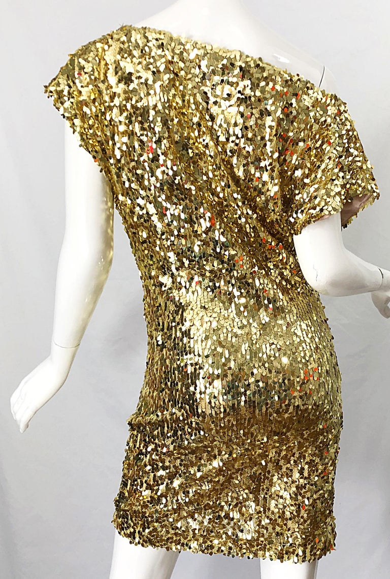 1990s Italian Gold Sequined Off the Shoulder Sexy Vintage 90s Dress For Sale 2