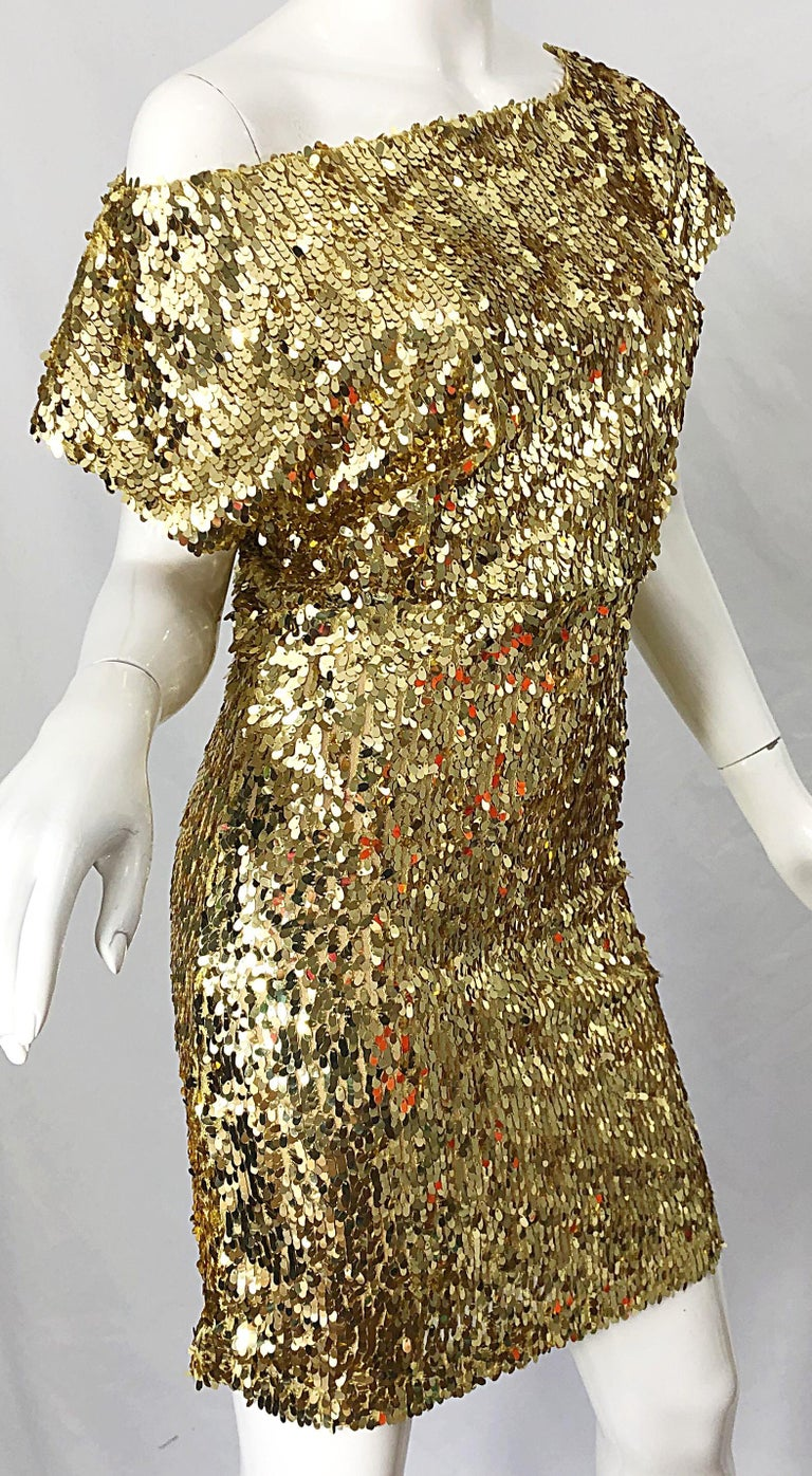 1990s Italian Gold Sequined Off the Shoulder Sexy Vintage 90s Dress For Sale 3