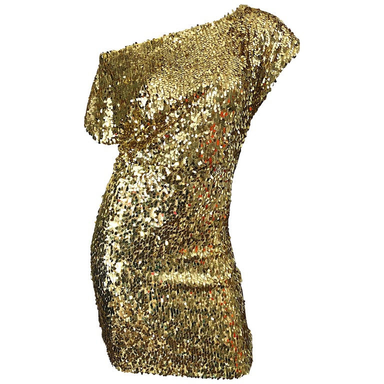 1990s Italian Gold Sequined Off the Shoulder Sexy Vintage 90s Dress For Sale