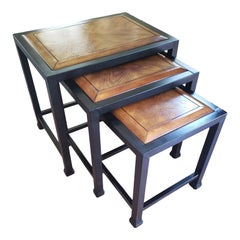 1990s Italian Metal and Wood Nesting Tables, Set of 3