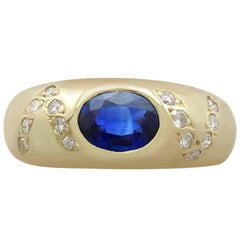 1990s Italian Sapphire and Diamond, Yellow Gold Dress Ring